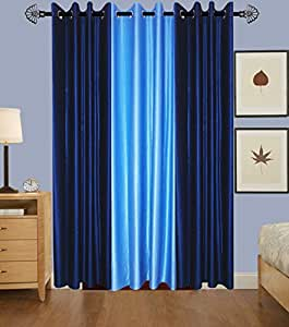 Deco India 3 Piece Polyester Eyelet Plain Door Curtain - 7 ft, Multicolor