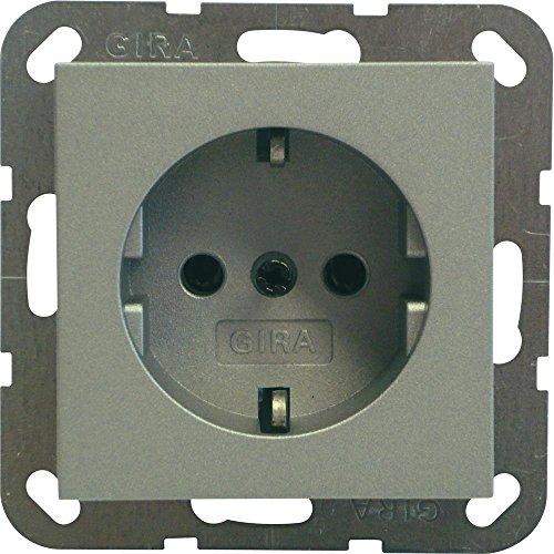 Gira Steckdose SCHUKO 018826 System 55 Farbe Alu, 250 V, Aluminium -