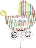 Großer Folienballon * WELCOME BABY * für Geburt // SUPERSHAPE // Kinder Party Nachwuchs Folien Ballon Helium Deko Ballongas Kinderwagen Jungen Mädchen
