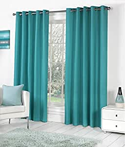 Obro Set of 4pc Premium Solid Fancy Elegant Ringtop Plain Polyester Eyelet 6ft Window Curtains - Aqua