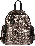 styleBREAKER Rucksack Handtasche in Metallic Stepp Optik und Reißverschluss, Tasche, Damen 02012199, Farbe:Bronze Metallic