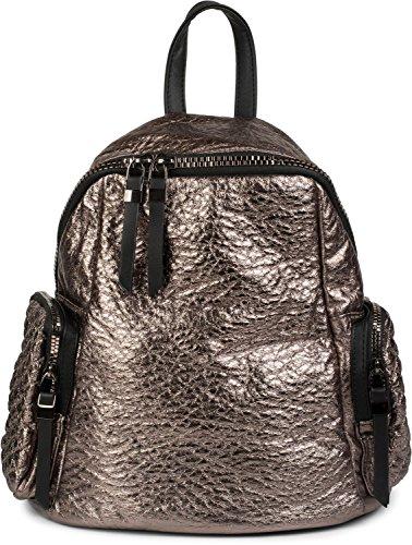 styleBREAKER borsa zaino in stile trapuntato metallico e cerniera, borsa, donna 02012199, colore:Nero metallizzato Bronzo metallizzato
