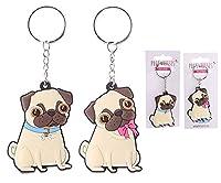 Fun PVC Keyring - Cute Pug Design - Total Length 11cm Pug Height 6cm Width 4cm Depth 0.5cm