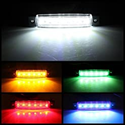AMBOTHER – Luci di posizione laterali a 6 LED da 9,7cm, per camion, rimorchio, camper, colore: bianco, confezione da 12