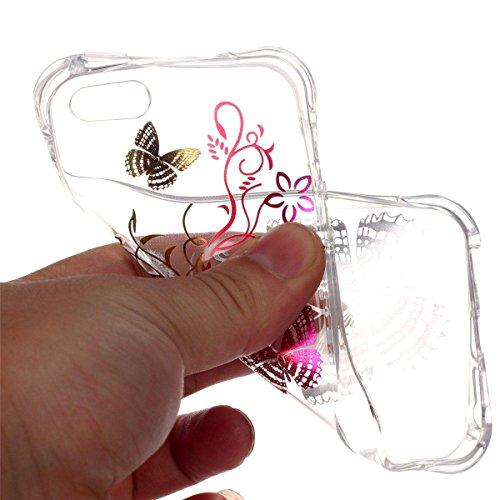 iPhone 5S Coque, iPhone SE Coque, Lifeturt [ Pissenlit ] Etui Transparent élégant TPU Gel Coque Silicone Shell Housse 3D Case Cover Motif Impression Creative Ultra Mince Cas Sac Skin Protection Shell  E02-Colorful Butterfly