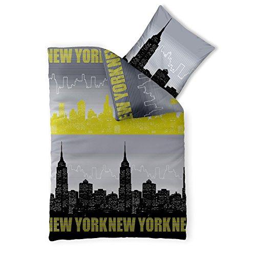 CelinaTex Fashion Bettwäsche 135 x 200 cm 2teilig Baumwolle Skyline Motiv Amerika Grau Schwarz Grün -