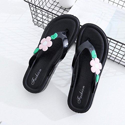 Transer® Damen Niedrige Ferse Zehentrenner Blau Rosa Slipper PVC+Kunststoff Blume Hausschuhe Rosa