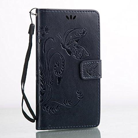 Cozy Hut Custodia portafoglio / wallet / libro in pelle per Huawei Y5 II / Y5 2 Custodia in Pelle Stampata Morbida PU Case Cover - Cover elegante e di alta qualità,Funzione di sostegno Stand,con la copertura del raccoglitore per la Carte - Progettazione fiore e la farfalla sollievo per Huawei Y5 II / Y5 2 - blu marino