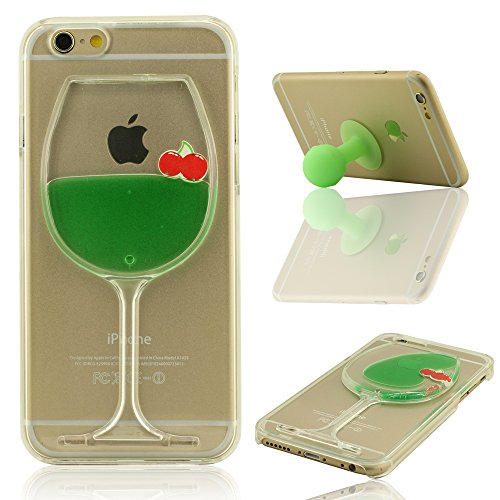 Giallo Liquido Case Cover per iPhone 6 Plus, iPhone 6S Plus Custodia (5.5 Pollici) + Morbido Silicone Staffa di Supporto, Frutta e Colorato Liquido Stile, Equisite Calice Modellazione, Duro Trasparent Verde