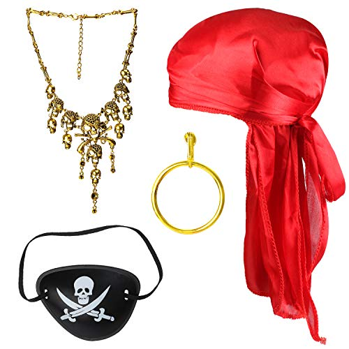 Beelittle 4 Stück Halloween Piraten Kostüm Zubehör Durag Long-Tail Headwraps Seidige Piratenmütze Piraten Augenklappe Goldohrring Halskette Piraten Rollenspiel Set (Rot1) (4 Stück Piraten Kostüm)