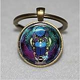 Glas Schlüsselanhänger, Skarabäus, ägyptische Einzigartige Schlüsselanhänger Key Ring Geschenk Everyday Schlüsselanhänger Key kette