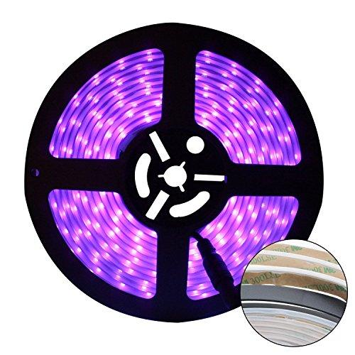 (UV Schwarzlicht LED Streifen, Eleganted Flexibel 16.4Ft/5M 2835 SMD 300 LEDs Wasserdicht IP67 60 Watt LED Licht Streifen mit DC12V 3A Netzteil)
