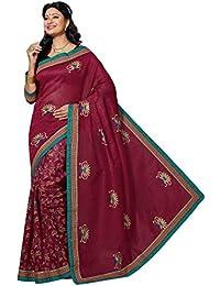 Aarti Apparels Women's Designer Embroiderd Cotton Saree_Maroon_CW-6213