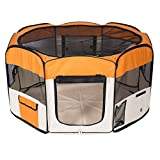 Kaka mall Pet Fence Playpen Cage House Tent Exercise Run for Dog Puppy Cat Rabbit Guinea Pig with 8 Panels Washable (Orange, L)