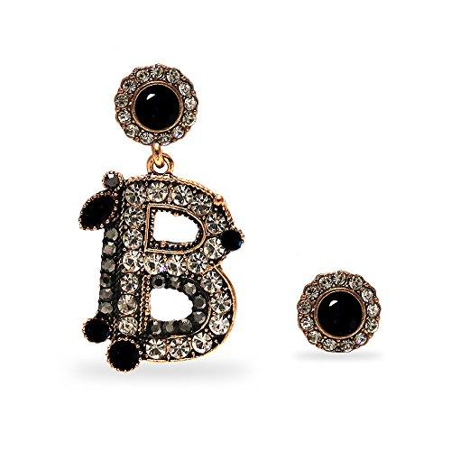 Emma gioielli - orecchini da donna pendenti antichi retrò vintage con lettera alfabeto iniziale nome b pl. oro ramato anticato con cristalli swarovski elements - scatola regalo (cristalli neri)