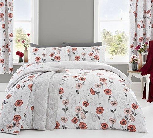 skizziert Stil Blumenmuster Mohn rot weiß einzeln (einfache creme passendes Leintuch - 91 x 191cm + 25) 3 Stück Bettwäsche Set