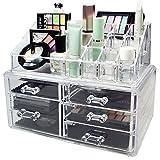 Organizer 25Fächer Aufbewahrungsbox Kosmetiktasche Makeup-Präsentationsständer Make Up transparent 5Schubladen Kosmetik Makeup Pinsel ot2i