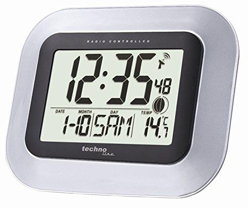 technoline-ws-8005-reloj-de-pared-plata-negro-despertador