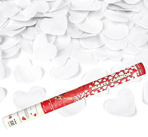 Kleenes Traumhandel 2 Stück - XL 60 cm - mehr als 2000 weiße Papier-Herzen Herzregen mit weißen Papier Herzen - Konfetti Kanone Shooter Verlobung Hochzeit Konfettibome