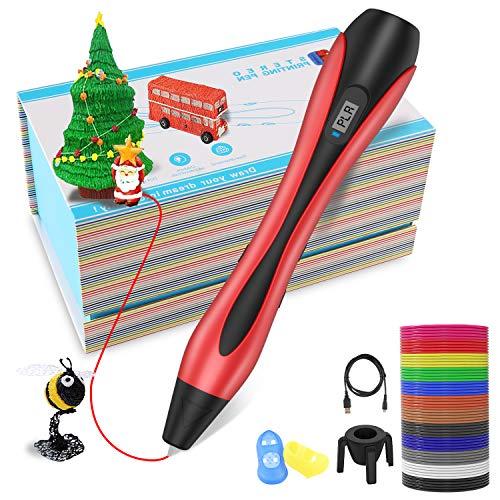 3D Stifte, 3D Pen mit 12 Farben Φ1,75 mm PLA Filament,【Neueste Version 2019】Lovebay 3D Drucker Stift mit LCD-Bildschirm für Kinder, Erwachsene, Kunst & handgefertigte Spielzeug, DIY Scribbler (Erwachsenen-bildschirm)