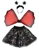 Foxxeo 35302   Halloween Set Spinnen Kostüm Set für Mädchen   Tutu, Flügel, Harreif mit Spinnen   Mädchenkostüm Kinder Tierkostüm Kinderkostüm gruselig schwarz Horror