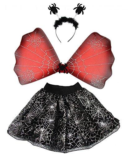ween Set Spinnen Kostüm Set für Mädchen | Tutu, Flügel, Harreif mit Spinnen | Mädchenkostüm Kinder Tierkostüm Kinderkostüm gruselig schwarz Horror (Bösen Kind Kostüm Mit Flügeln)