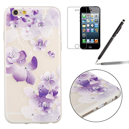 "Apple iPhone 6 Plus/6S Plus 5.5"" Case Silicone - Felfy Ultrathin Slim Soft Gel Mode Silicone Lichtdurchlässig TPU Peinture Rose Motif Fleur de Diamant de Bling Glitter étincelle Strass Cristal Creativ #28"