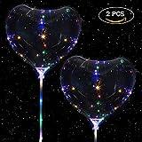 2 PCS LED Globo de Corazón, LED Transparente Globo por Navidad Boda Fiesta Decoraciones Fiesta con Encargarse de (2 PCS Globo de Corazón)