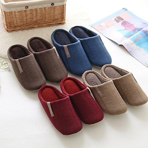 Mianshe Unisex Flauschige Warme Pantoffeln Damen Herren Slipper für zu Hause Rot