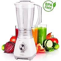 Batidora de vaso | 1,5 l |4 cuchillas | 4 velocidades | Función pulsador | Batidora de vaso para alimentos de bebés | Prepara batidos | Batidos de proteínas | Batido | Licuadora | blanco | BPA free