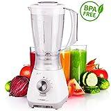 Mixeur blender | 1,5L | 4 lames | 4 niveaux de vitesses | fonction pulse| mixeur pour aliments pour bébés | mixeur pour smoothies | boissons protéinées| shake | blender | mixer | blanc | sans BPA