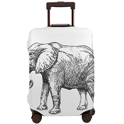 ector,Zoo African Fauna Elephant Hand Drawn for Tattoo Design Emblem Badge Print Engraving of Wild Animal Classic Vintage Style Image,Suitcase Cover Washable Luggage Cover S ()