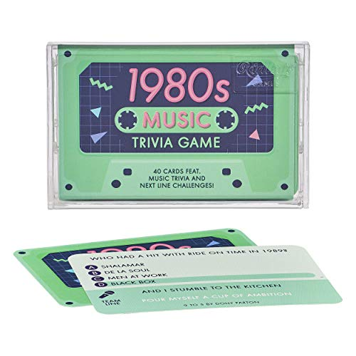 1980s Music Trivia Game - Retro Cassette Style with Quiz Cards