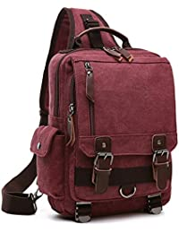Outreo Bolso de Pecho Bolso Vintage Bandolera Mochilas Bolsos de Tela Bolsas Viaje Hombre Messenger Bag para Colegio Escolares Mujer Bolsa