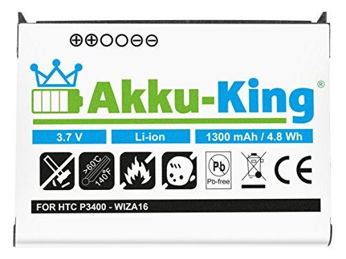 Akku-King Akku für HTC P3400 Qtek 9100, MDA Vario, XDA Mini Pro, XDA Mini S - Li-Ion ersetzt WIZA16 - 1300mAh -