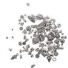 Gazechimp Bolsa de Mezclados de Abalorios Espaciador Cuentas de Plata Tibetano para Pendientes Encantos de Collar Colgante Pulsera de Bricolaje
