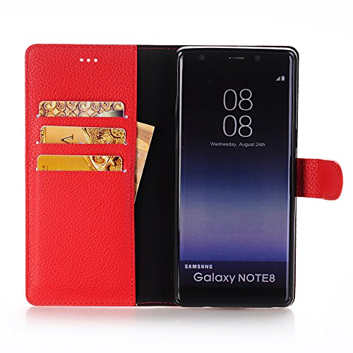 TechCode TechCode Galaxy Note 8 Handyhülle 2017, Flip PU Leder Brieftasche Case Hülle Tasche mit Kartenfächer und Bargeld für Samsung Galaxy Note 8 2017 6,3 Zoll (Galaxy Note 8, Rot)