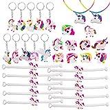 SPECOOL Pulseras Unicornio Party Favors Supplies, Regalos de Unicorn, Que Incluyen 10 Unidades Unicorn Bracelet, 10 Unidades Unicorn Keyring Keyring, 2 Unicorn Necklace