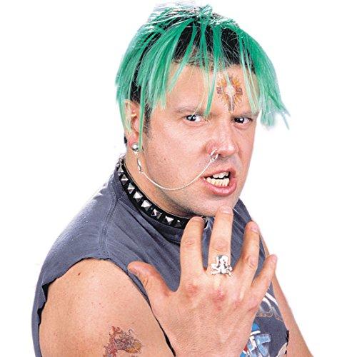 Amakando Rocker Fake Piercings Ohrring mit Ohr-Nasen Kette Gothic Piercing Ringe Totenkopf Ring Biker Kostüm Accessoire Punk Schmuck ()