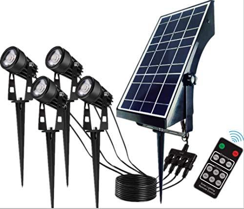 ZJQTT Faretti solari, 4 in 1 Illuminazione paesaggistica, Faretti solari orientabili, Luce Decorativa per Giardino per Percorso Patio Yard, Bianco Caldo,Black