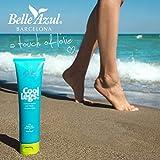 Belle Azul Cool Legs - Gel effet rafraîssichant immédiat pour Jambes Lourdes et Douloureuses. Apaise et Améliore la Circulation Sanguine. Huile d'Argan, Menthe poivrée, extraits d'Arnica. Bloc réfrigérant Offert, Vegan - 100 ml