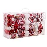 Valery Madelyn 100tlg.3-15.5cm Traditionelle Rot und weiß bruchsicher Weihnachtskugeln Weihnachtsbaumschmuck Dekorationen, inkl.e 100 Stücke Metallhaken