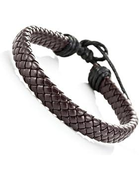 Trendiges, geflochtenes, braunes PU Leder Armband Manschette Armspange für Herren und Damen, Unisex (Größe verstellbar)