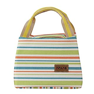 AP&AS Insulated Lunch Bags Dual Handles Zipper Stripe Canvas Food Holder Tote for Women Men Kids Students Green