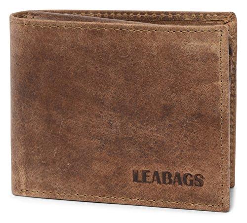 LEABAGS Springfield portafoglio vintage in vera pelle di bufalo - Fallow