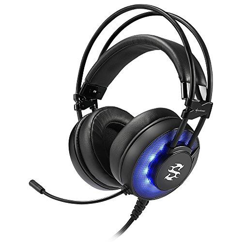 Sharkoon Skiller SGH2 Stereo Gaming Headset (für USB, PC, PS4, 50-mm-Lautsprecher, Extra-Große Ohrpolster, Blaue LED-Beleuchtung, Gefederte Kopfbandaufhängung) schwarz