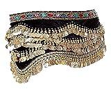 Jelinda Cintura di Dance del Ventre Hip Gonna Busta di Sciarpa di Costume di 3File Dorato 310Le Monete