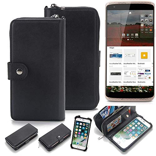 K-S-Trade 2in1 Handyhülle für ZTE Axon Mini Premium Edition Schutzhülle & Portemonnee Schutzhülle Tasche Handytasche Case Etui Geldbörse Wallet Bookstyle Hülle schwarz (1x)