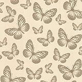 I Love Wallpaper Butterfly Shimmer Wallpaper Metallic Gold / Cream