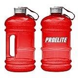 ProElite V2 Half Gallon Bottle BCAA Pre Workout Water Jug, 2.2 Litre, Red